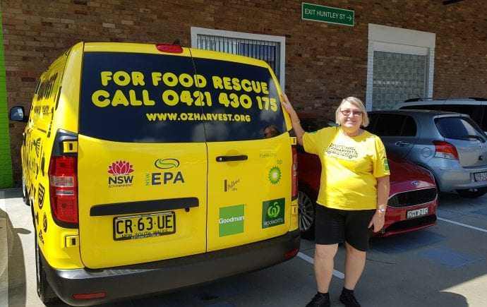 OzHarvest Coffs Harbour driver Julie stands next to the newly NSW EPA funded van